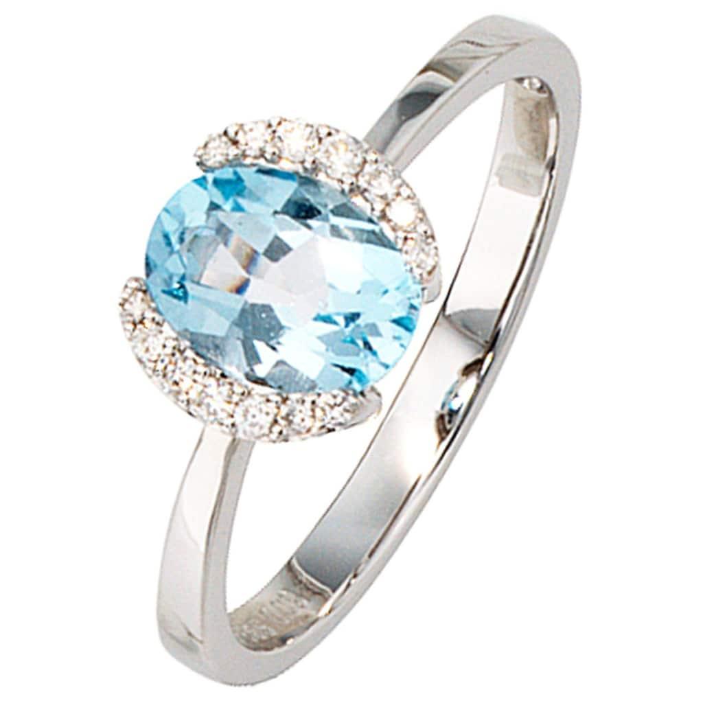 JOBO Diamantring, 585 Weißgold mit Blautopas und 14 Diamanten