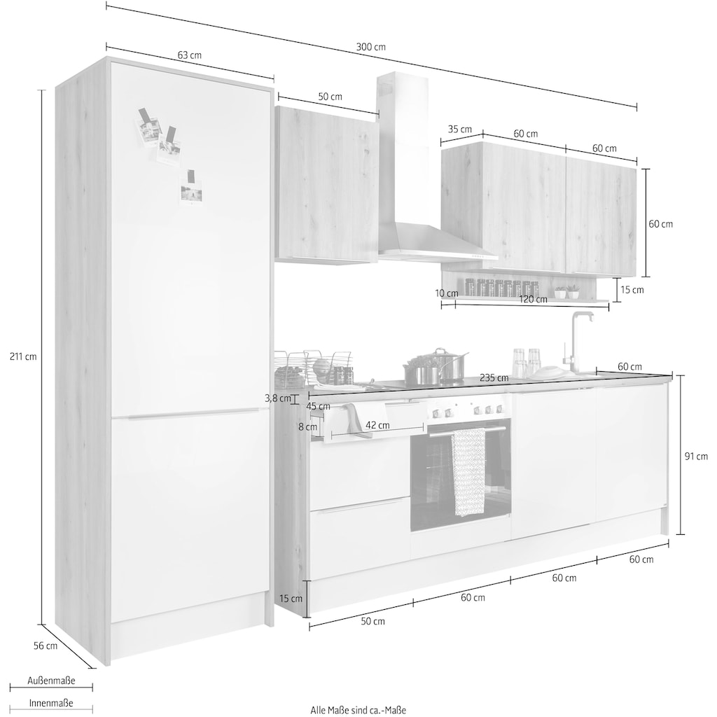 set one by Musterring Küchenzeile »Nashville«, (Set), mit E-Geräten, Breite 300 cm