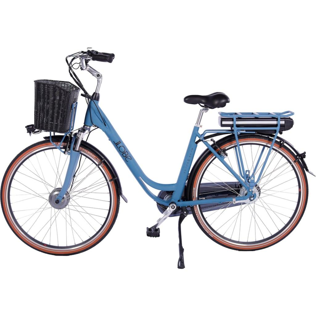 LLobe E-Bike »Blue Motion 2.0, 15,6Ah«, (mit Fahrradkorb)