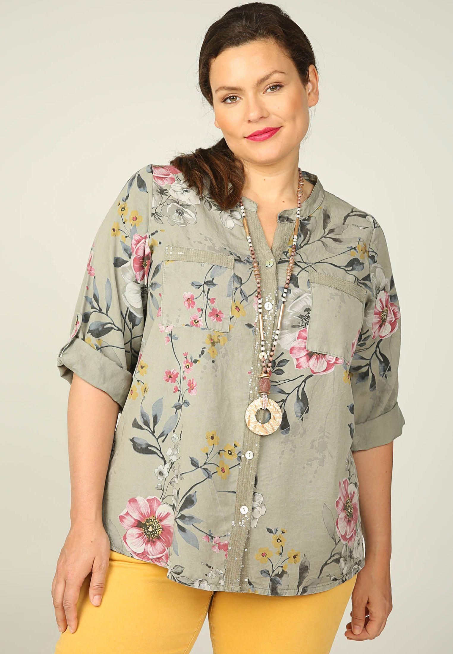 Paprika Druckbluse Hemdbluse mit Blumendruck und Pailletten
