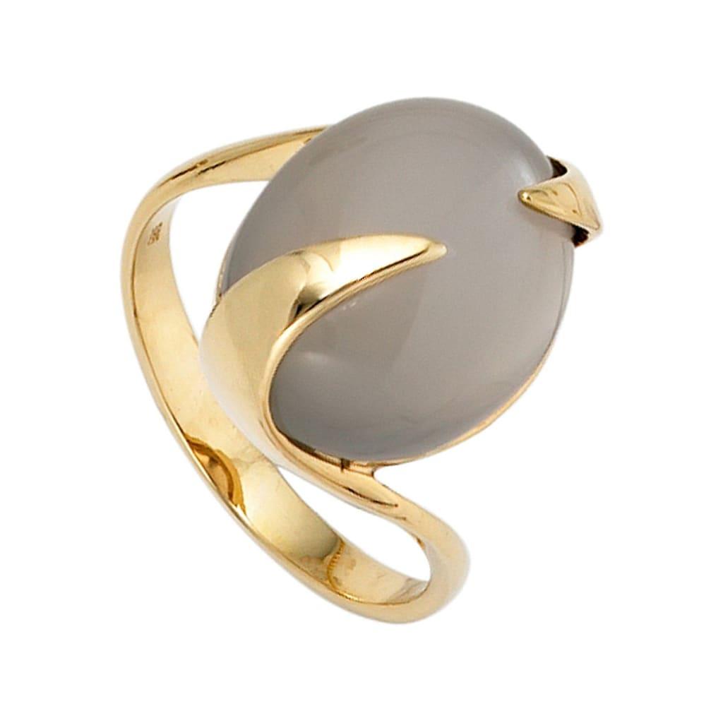 JOBO Goldring, 585 Gold mit Mondstein