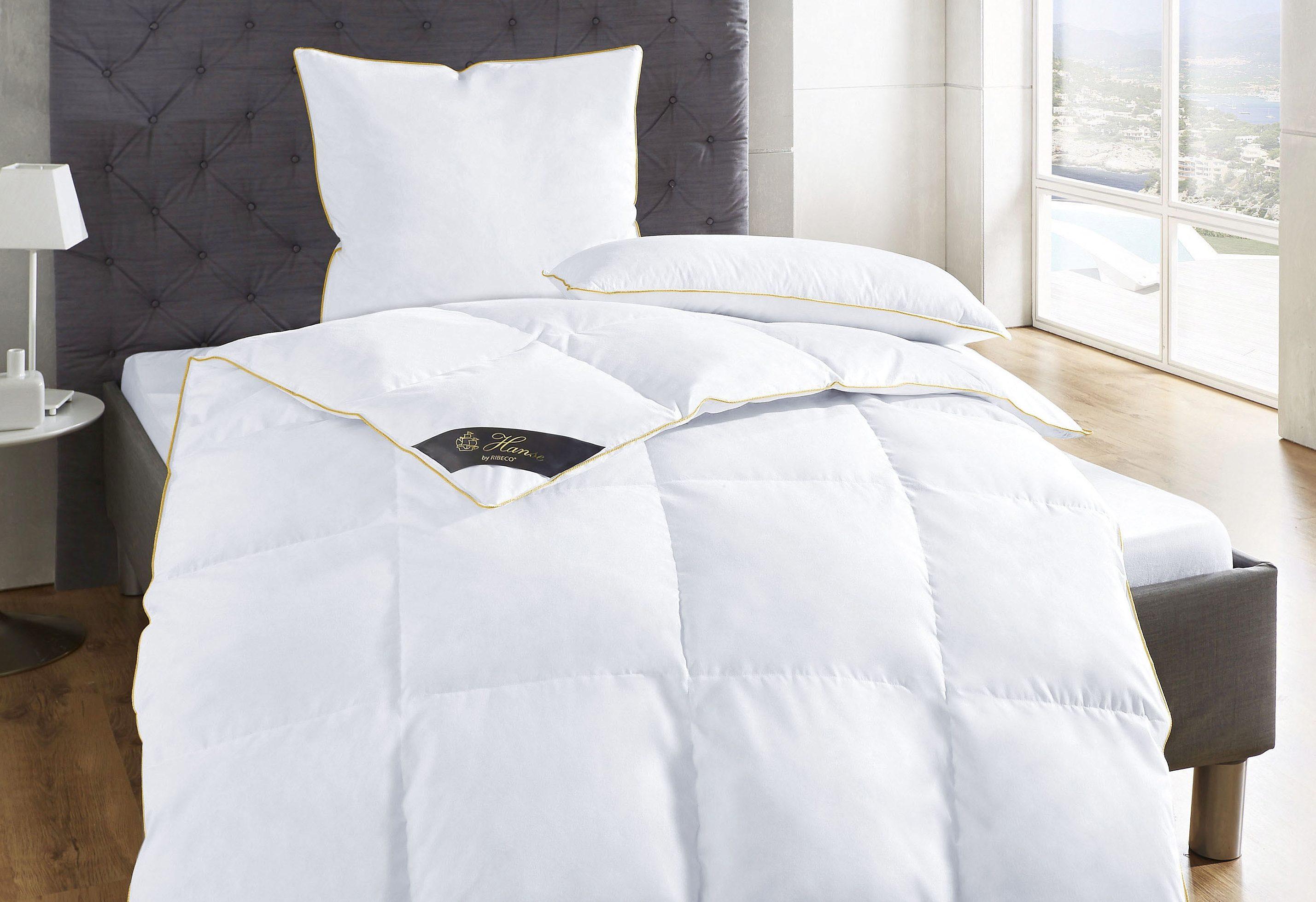 Daunenbettdecke Lena Hanse by RIBECO warm Füllung: 90% Daunen 10% Federn Bezug: 100% Baumwolle