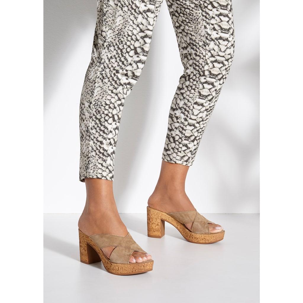 LASCANA Pantolette, aus Leder mit Blockabsatz