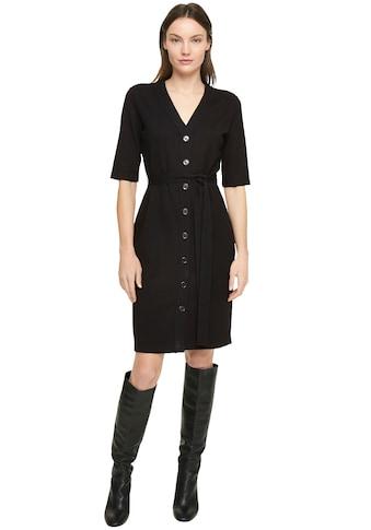 Comma Jerseykleid, mit Knopfleiste und Bindegürtel in Ripp-Optik kaufen