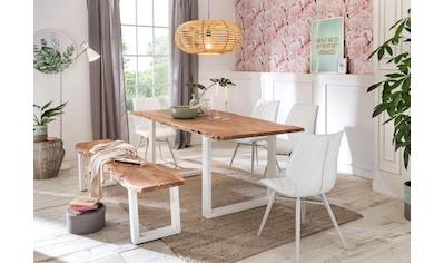 Premium collection by Home affaire Esstisch »Manhattan«, mit Baumkantenoptik und Gestell U-Form aus weißem Metall kaufen