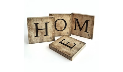 Wall-Art Mehrteilige Bilder »Scrabble Deko Buchstaben Home«, (Set, 4 St.) kaufen
