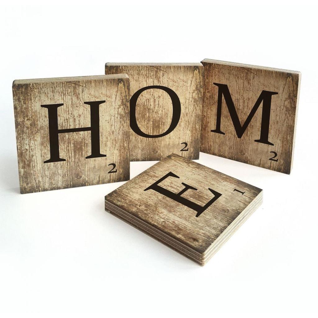 Wall-Art Mehrteilige Bilder »Scrabble Deko Buchstaben Home«, (Set, 4 St.)