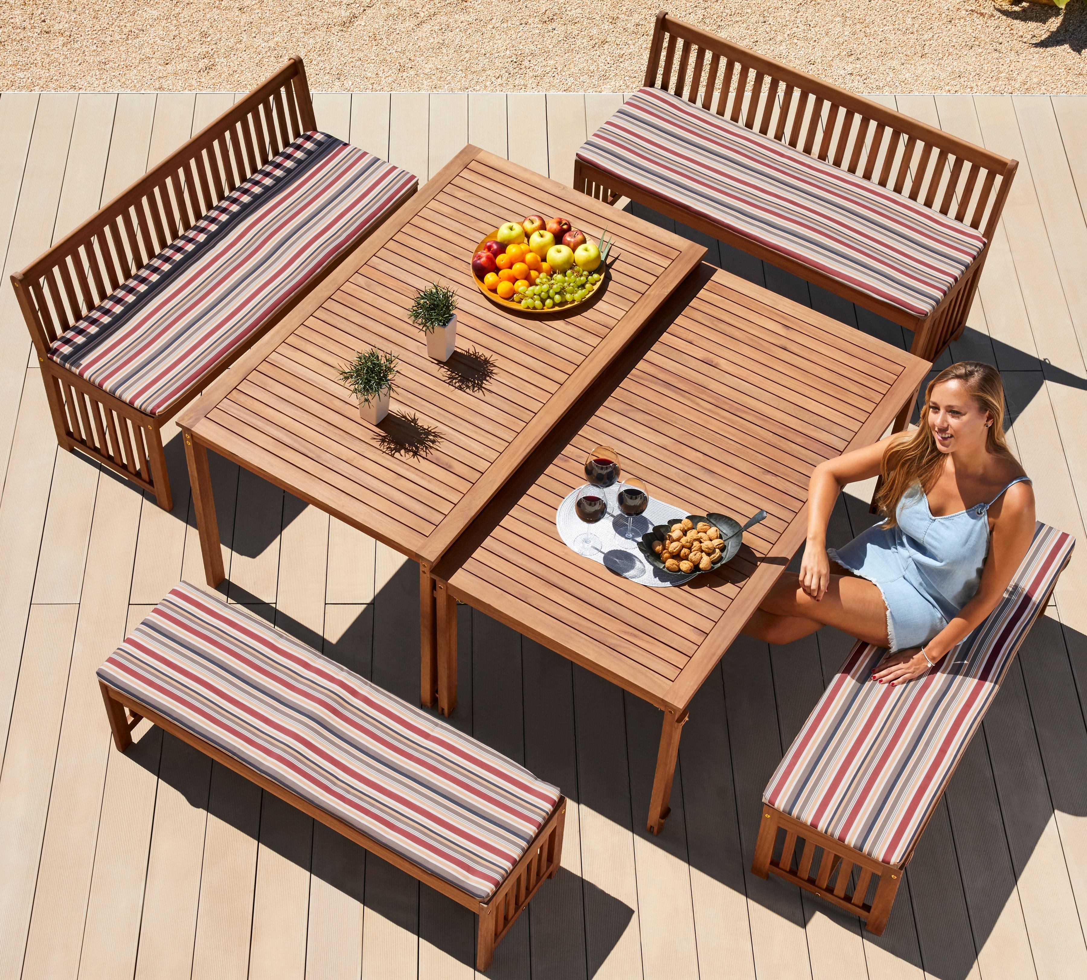 MERXX Gartenmöbelset Hawaii 10-tlg 4 Bänke 2 Tische Akazienholz braun