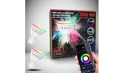 B.K.Licht LED-Leuchtmittel, GU10, 2 St., Farbwechsler, Smart Home LED-Lampe RGB WiFi App-Steuerung dimmbar CCT Glühbirne 5,5W 350 Lumen kaufen