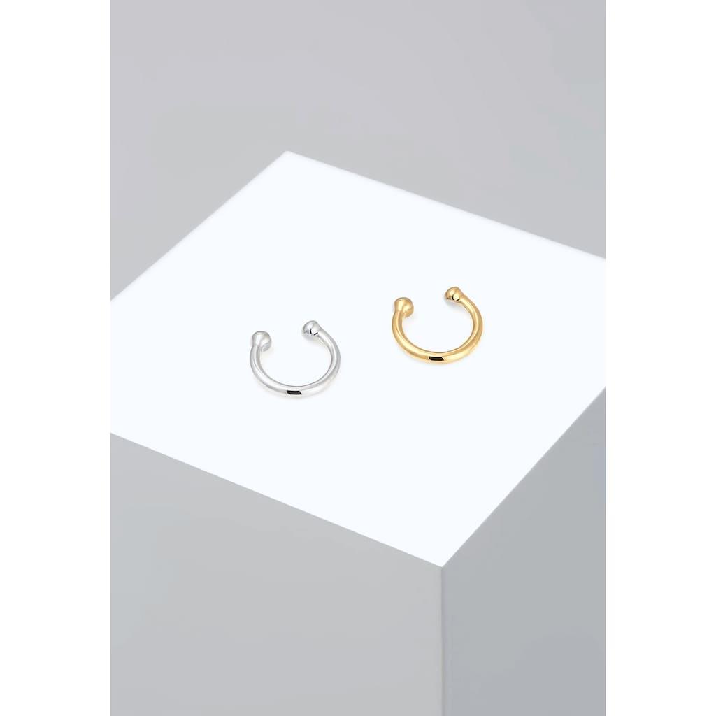 Elli Paar Ohrhaken »Earcuff Set Bi-Color Kugel Geo Minimal 925 Silber«