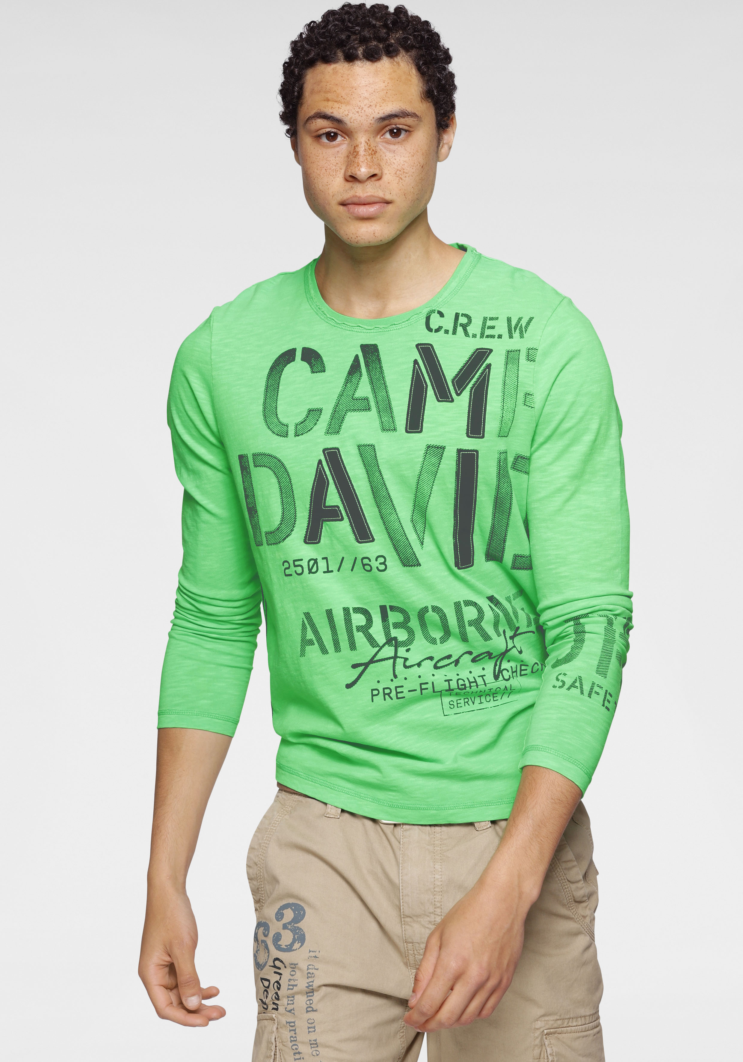 camp david -  Langarmshirt, mit großem Logoschriftzug