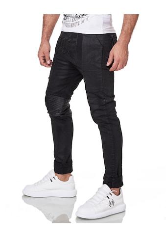 KINGZ Slim-fit-Jeans, mit Kunstleder-Applikationen kaufen