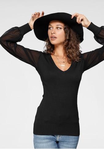 Melrose V-Ausschnitt-Pullover, mit transparenten Chiffon-Ärmeln kaufen