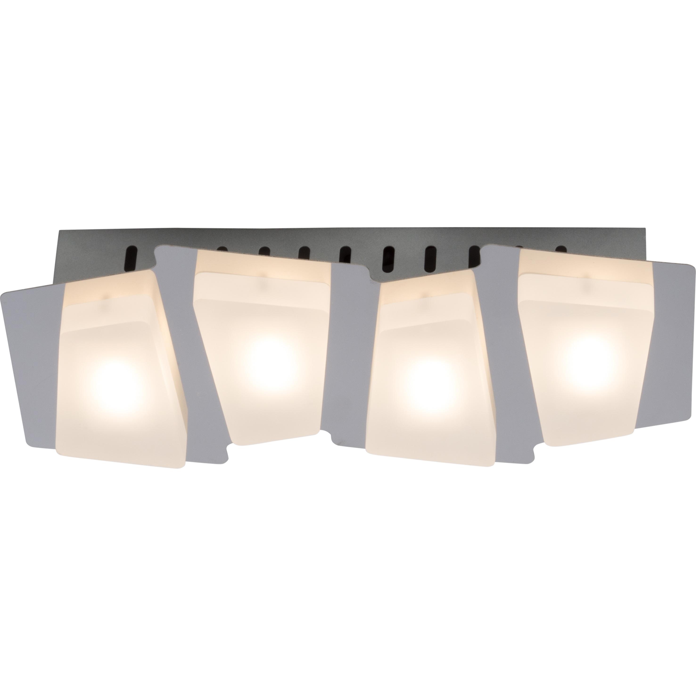 Brilliant Leuchten Block LED Wand- und Deckenleuchte 4flg chrom/weiß