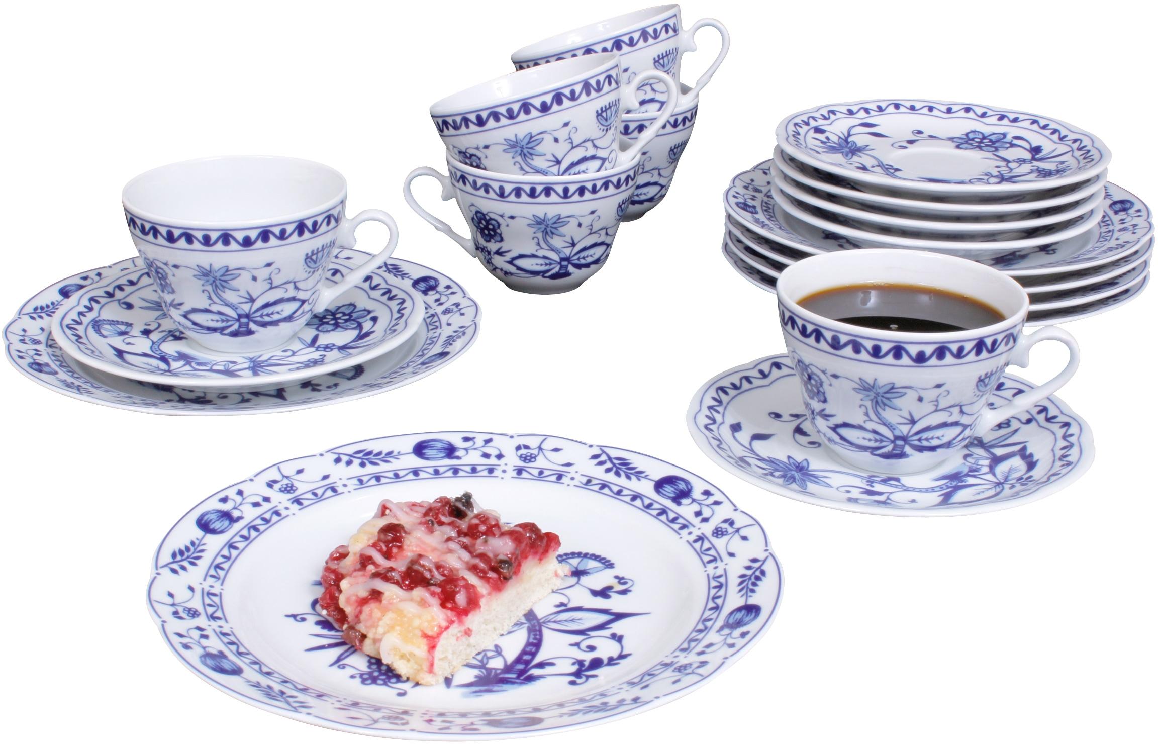 Eschenbach Kaffeeservice Romantika - Zwiebelmuster, (18 tlg.), Made in Germany weiß Geschirr-Sets Geschirr, Porzellan Tischaccessoires Haushaltswaren