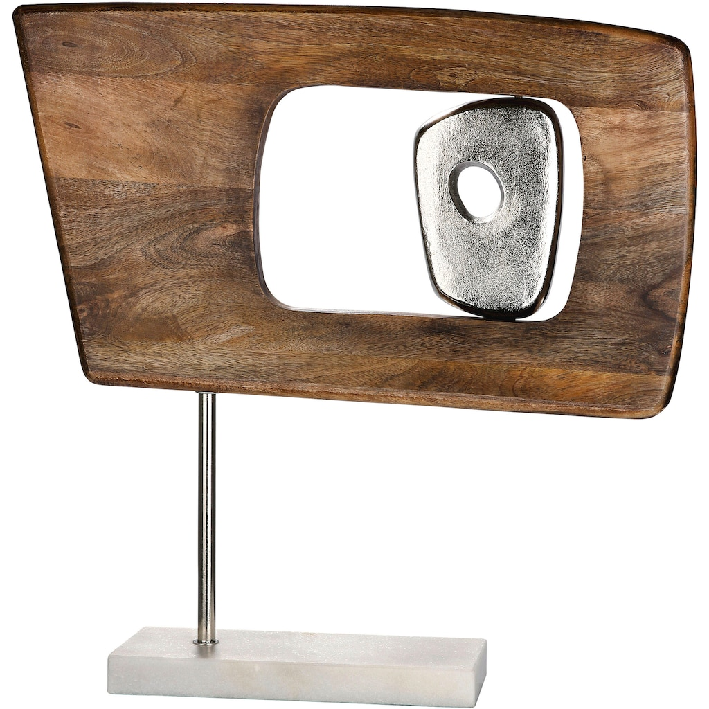 GILDE Dekoobjekt »Skulptur Marcire rechteckig«, Höhe 48 cm, aus Holz und Metall