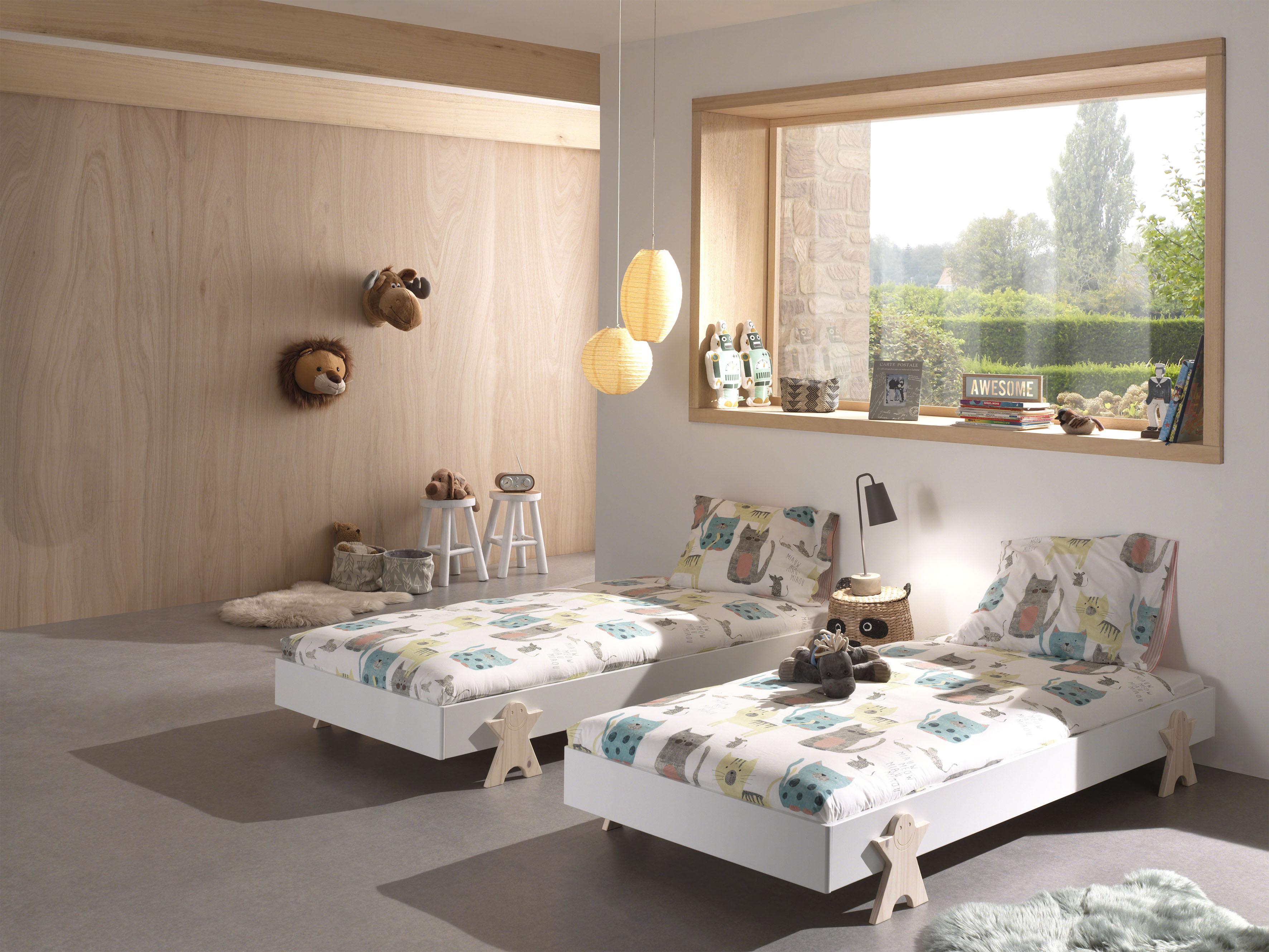 Vipack Einzelbett Modulo, Stapelbett mit Füßen in Smileoptik weiß Kinder Kinderbetten Kindermöbel