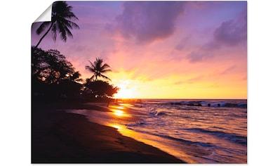 Artland Wandbild »Tropischer Strand«, Sonnenaufgang & -untergang, (1 St.), in vielen Größen & Produktarten - Alubild / Outdoorbild für den Außenbereich, Leinwandbild, Poster, Wandaufkleber / Wandtattoo auch für Badezimmer geeignet kaufen