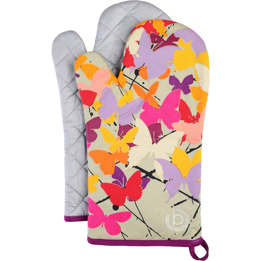 bugatti Topfhandschuhe »Butterfly«, (Set, 3 tlg., bestehend aus 2x Ofenhandschuh, 1x Topflappen)