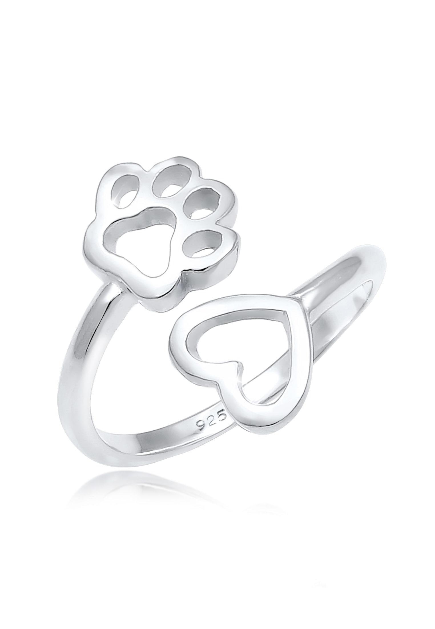 Nenalina Fingerring Herz Pfote Tierliebe Offen Verstellbar 925 Silber | Schmuck > Ringe > Fingerringe | Nenalina