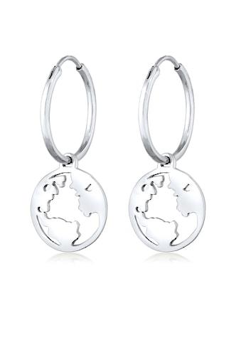 Elli Paar Creolen »Hänger Weltkugel Globus Reisen Trend 925 Silber« kaufen
