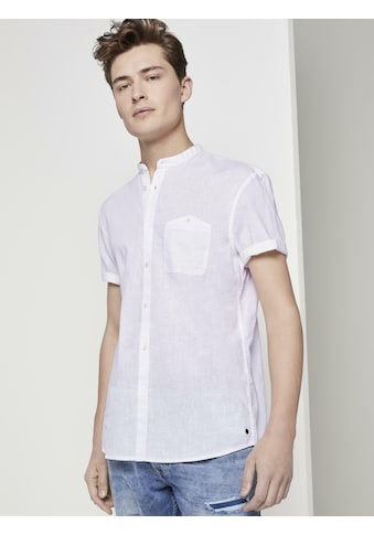 TOM TAILOR Denim Kurzarmhemd »Kurzarmhemd mit Mao-Kragen aus Leinengemisch« kaufen