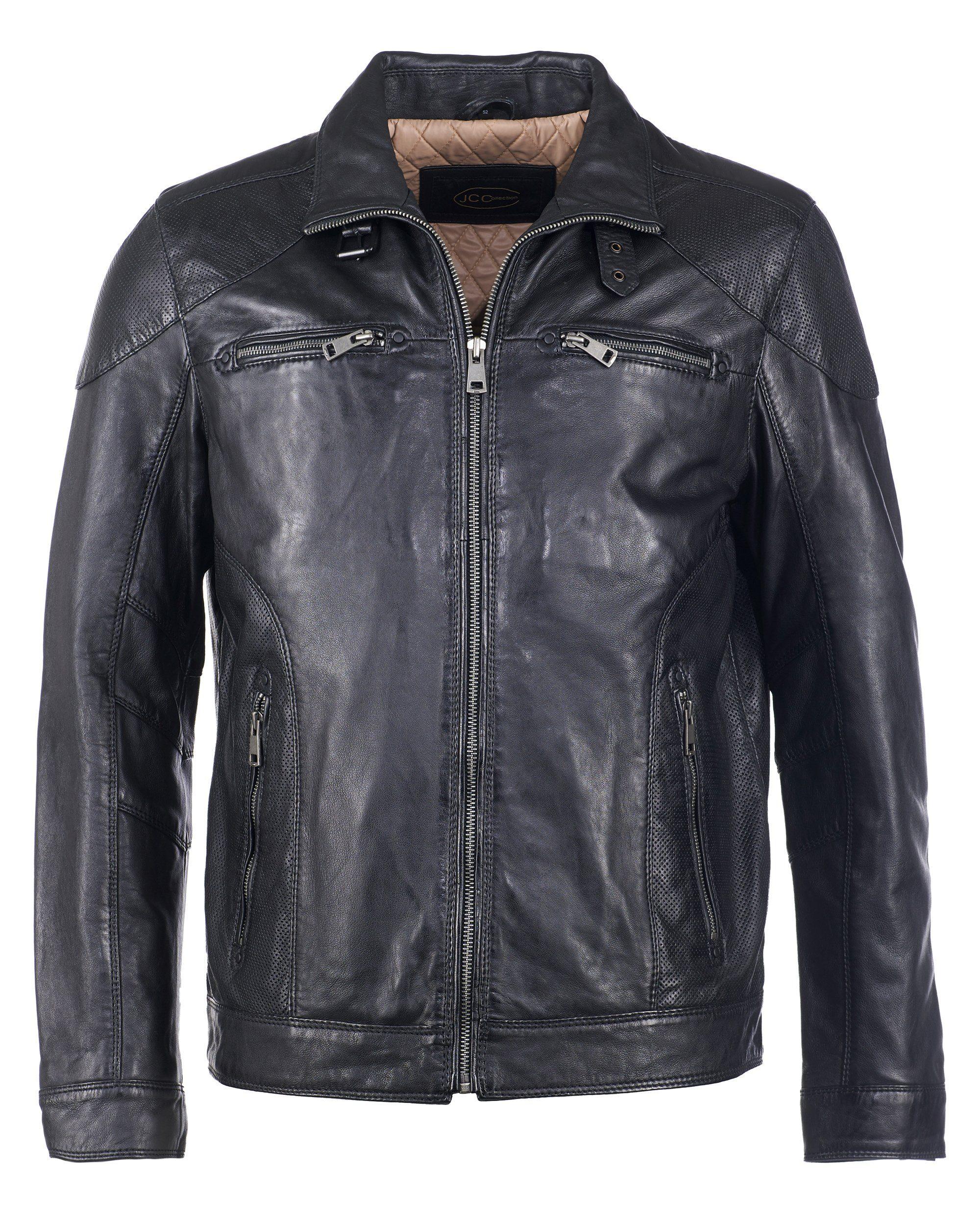 JCC Herrenlederjacke mit Verschlussschnalle 51195   Bekleidung > Jacken > Lederjacken   Schwarz   Jcc