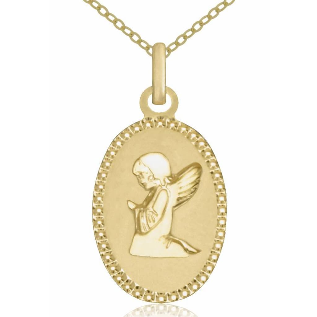 Firetti Goldkette »Schutzengel, oval, diamantiert, matt«