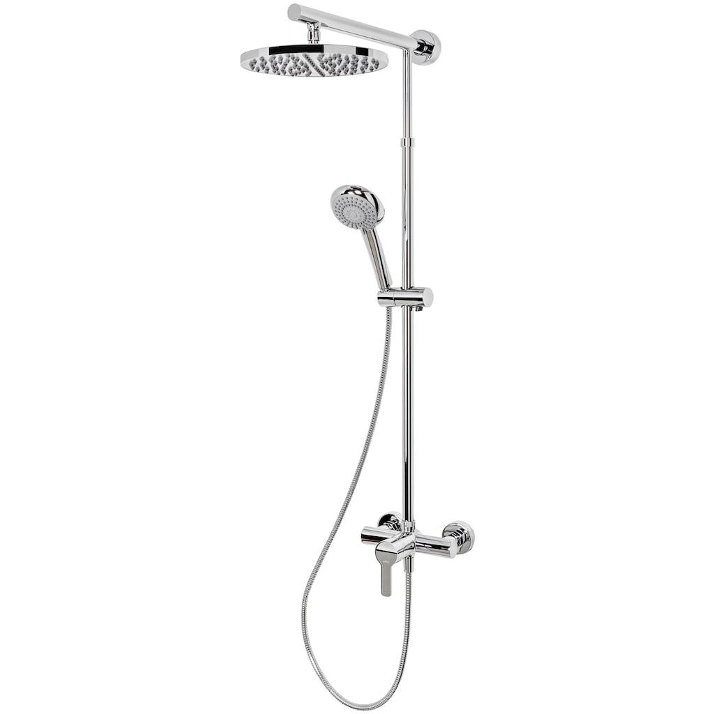 Schulte Duschsystem »Rain«, Handbrause mit verschiedenen Strahlarten, Höhe variabel verstellbar von 92-143