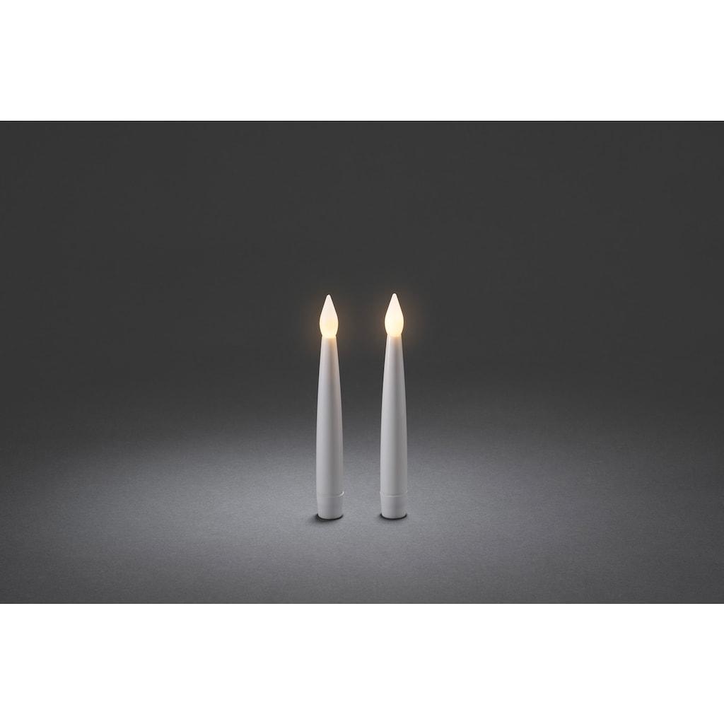 KONSTSMIDE LED Dekolicht, Warmweiß, Kerzen 2er-Set, weiß, flackernde Dioden