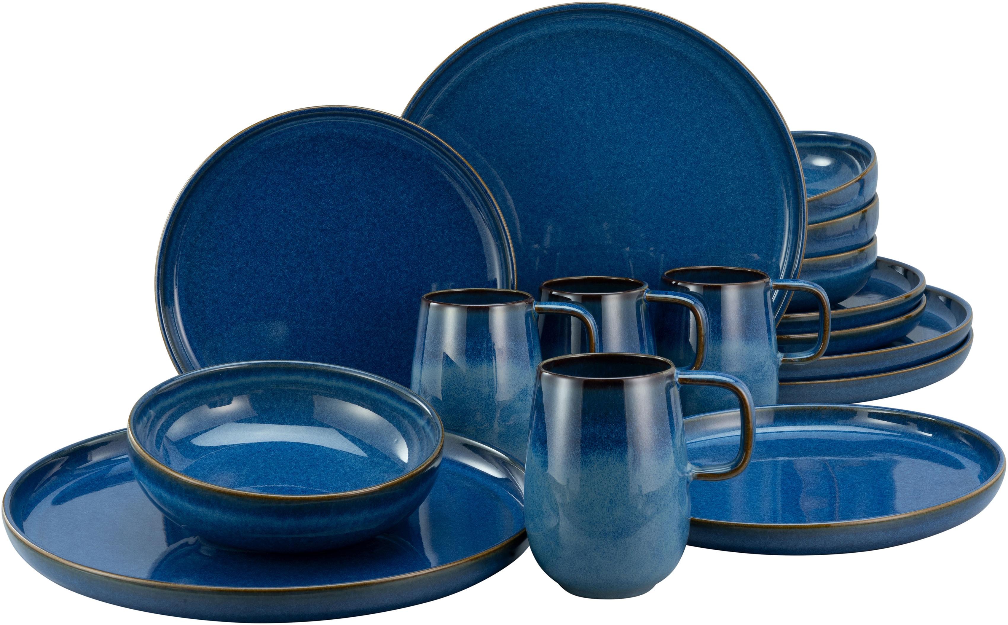 CreaTable Kombiservice Atlantico, (Set, 16 tlg.), mit intensiver Kobalt-Blau-Reaktivglasur blau Geschirr-Sets Geschirr, Porzellan Tischaccessoires Haushaltswaren