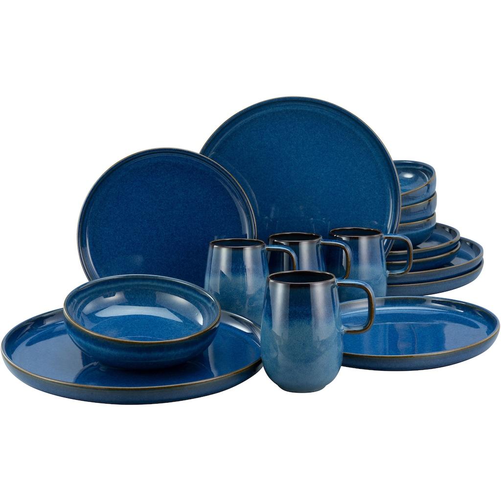 CreaTable Kombiservice »Atlantico«, (Set, 16 tlg.), mit intensiver Kobalt-Blau-Reaktivglasur