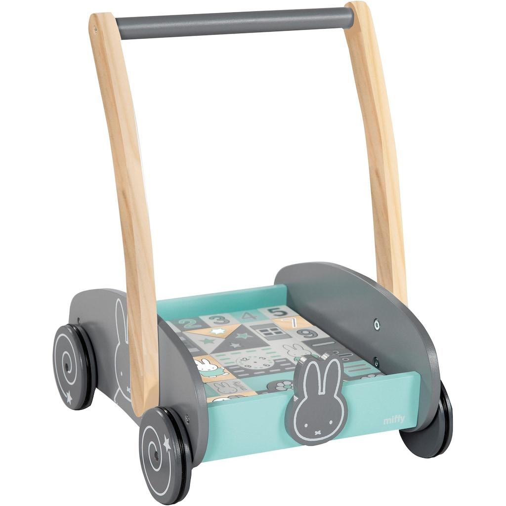 roba® Lauflernwagen »Miffy«, mit 35-teiligem Holzbausteine-Set