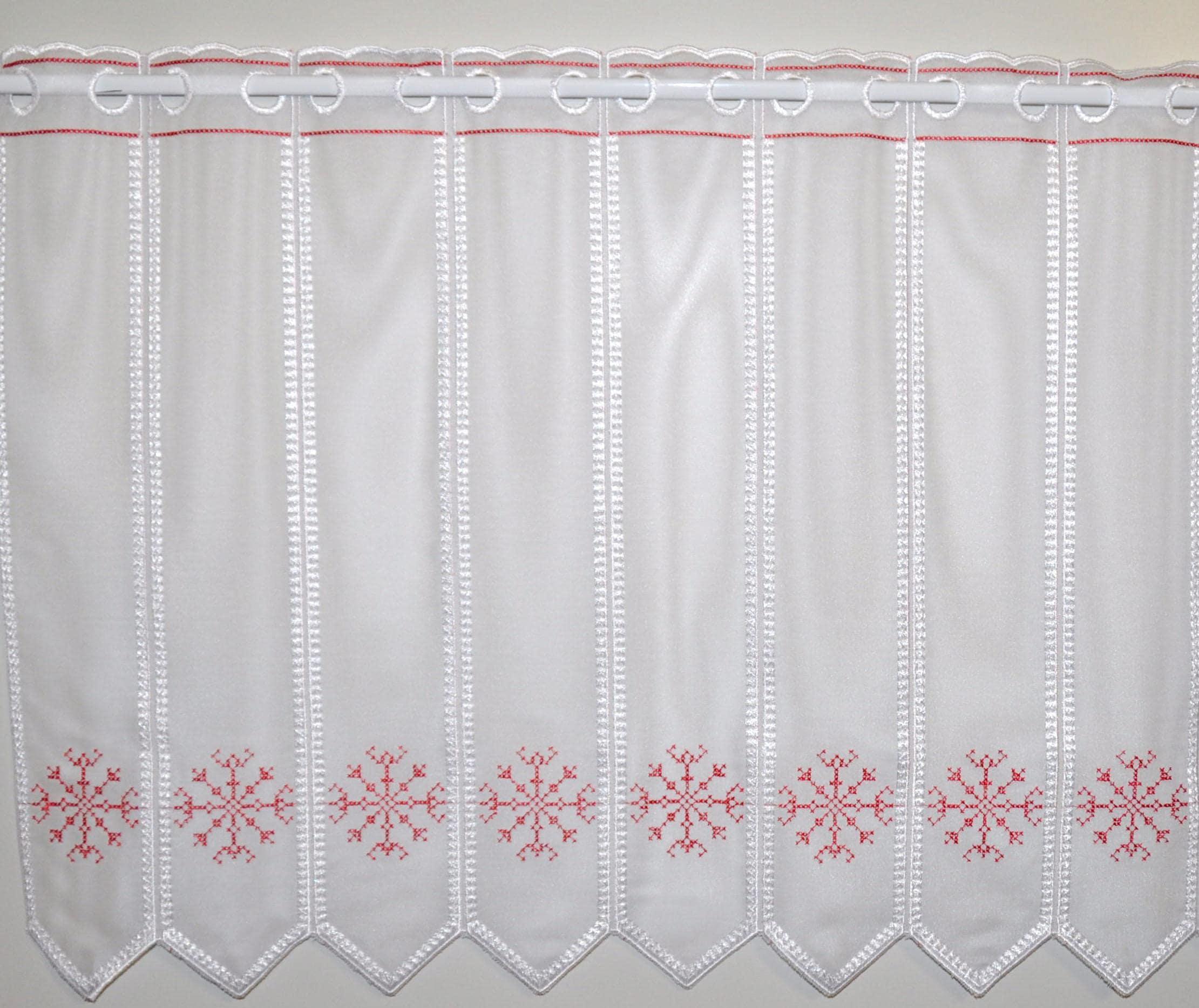 Scheibengardine, Kristall, Stickereien Plauen, Stangendurchzug 1 Stück weiß Gardinen nach Aufhängung Vorhänge Gardine