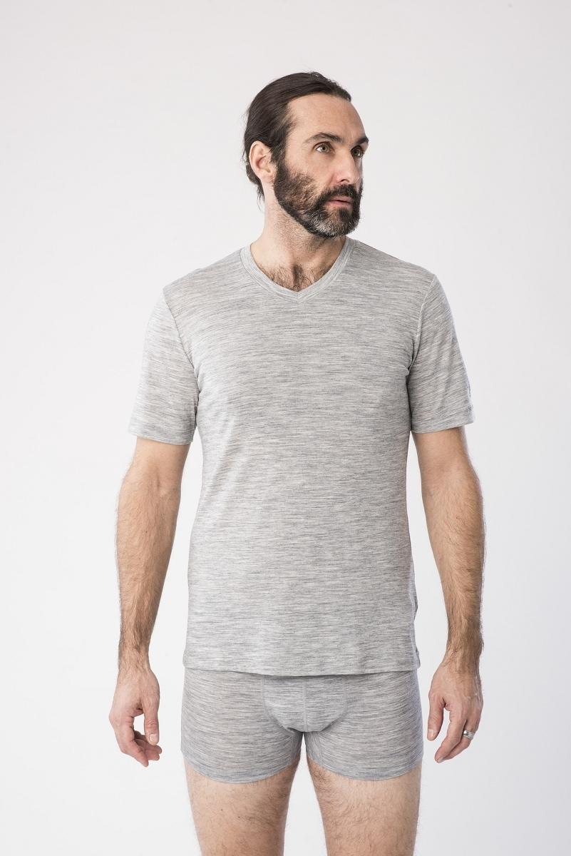 super.natural -  T-Shirt M BASE V-NECK TEE 140, geruchshemmender Merino-Materialmix