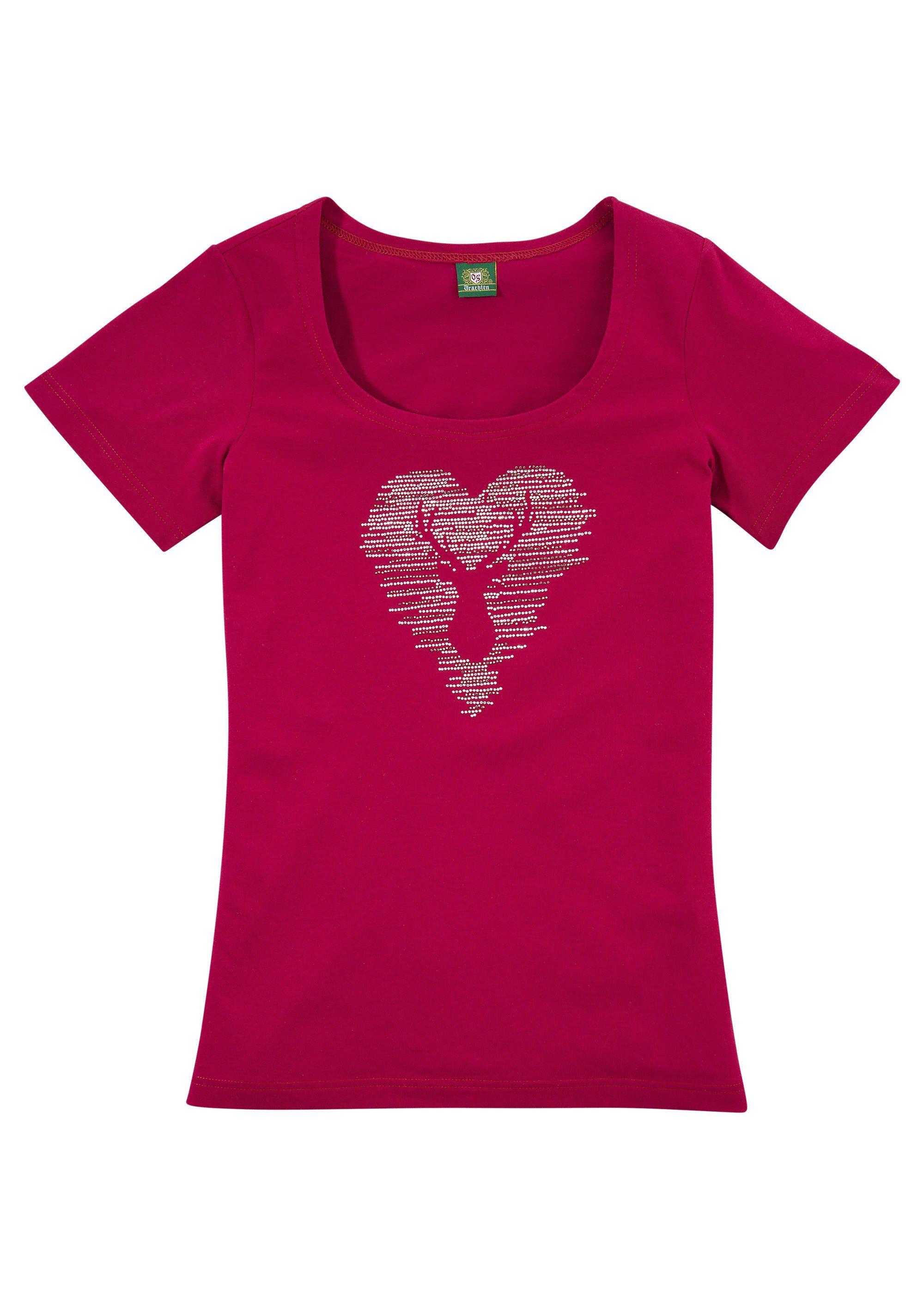 OS-Trachten Trachtenshirt mit Hirschmotiv Damenmode/Bekleidung/Trachtenmode/Trachtenshirts