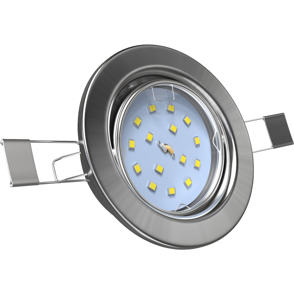 B.K.Licht LED Einbauleuchte, LED-Board, 5 St., Warmweiß, LED Einbauspots Einbaustrahler ultra flach inkl. 5x 5W 400LM 3000K schwenkbar