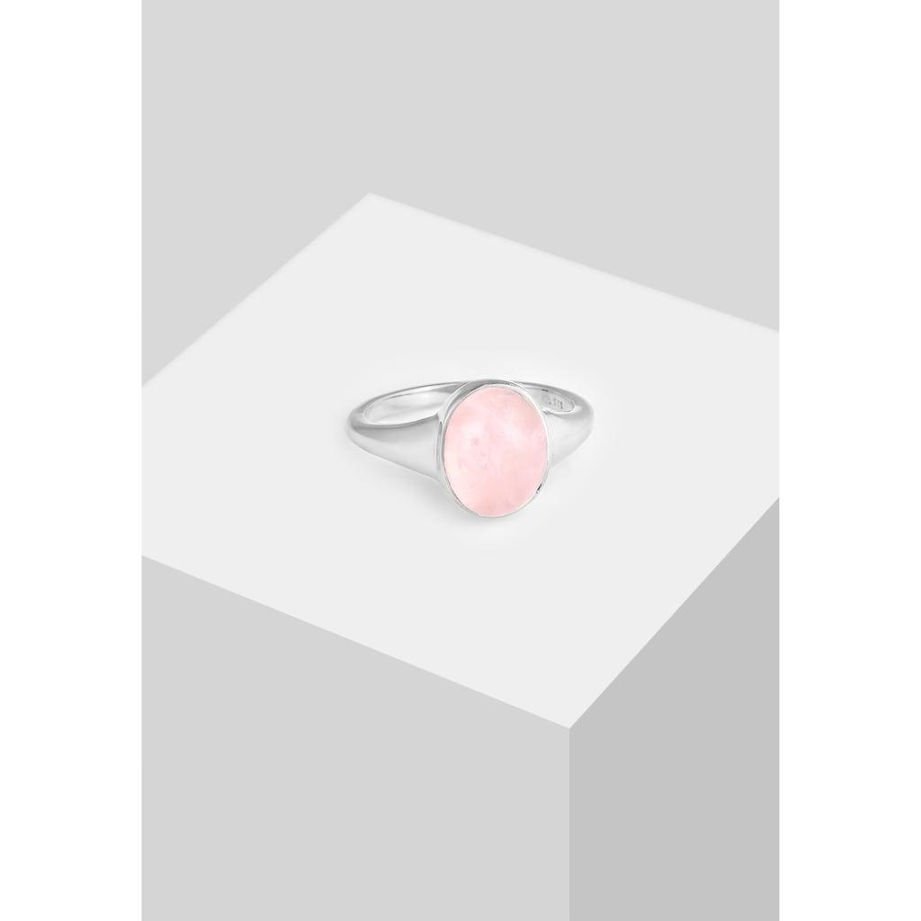 Elli Siegelring »Siegelring Rosa Quarz Edelstein Oval 925 Silber«