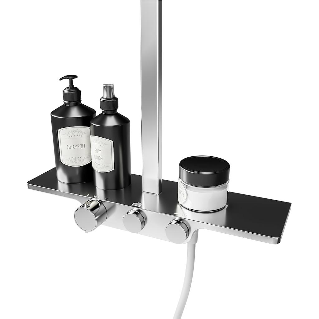 Schulte Duschsystem »Square«, mit Thermostat, Ablage und Kopfbrause