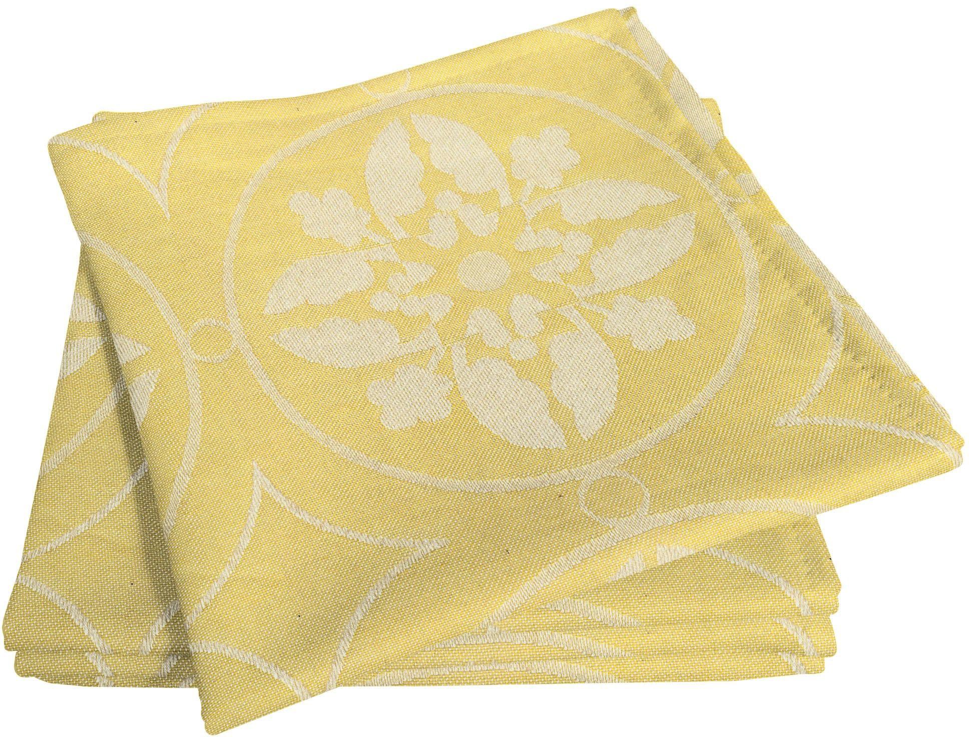 Adam Stoffserviette Romantic Puligny Light, (4 St.), nachhaltig, GOTS zertifiziert gelb Stoffservietten Tischwäsche