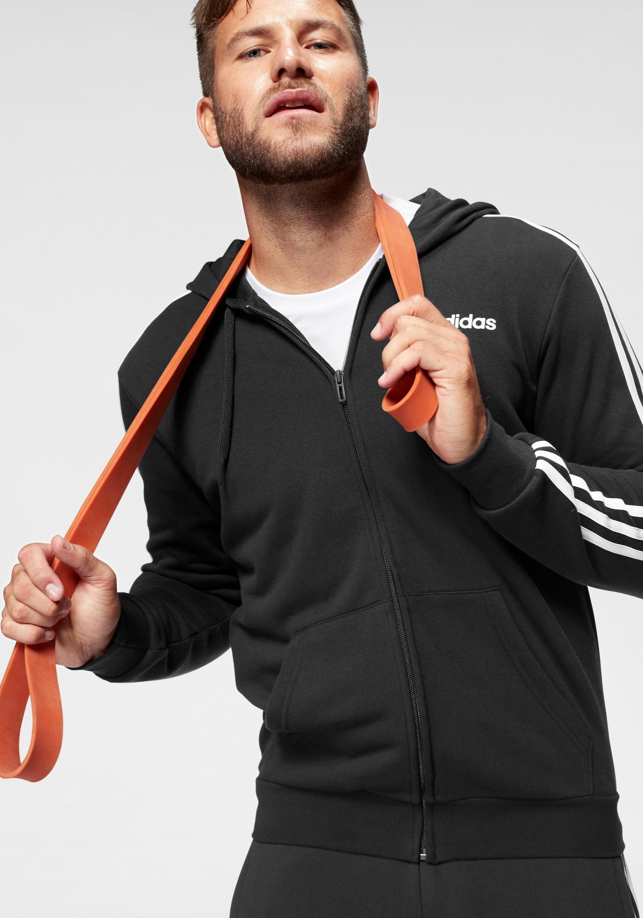 adidas Kapuzensweatjacke ESSENTIALS 3 STRIPES FULL ZIP FRENCH TERRY