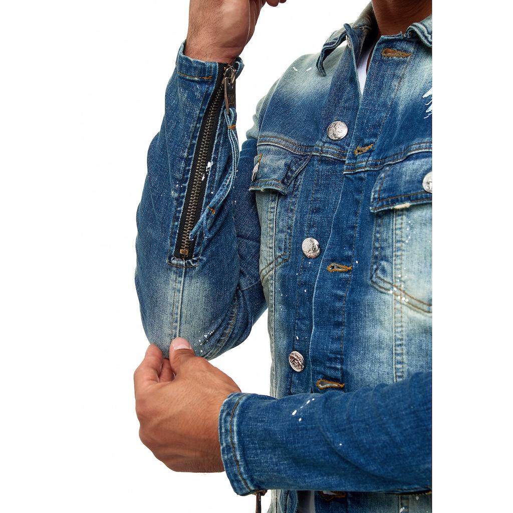 KINGZ Jeansjacke, mit rockigen Akzenten