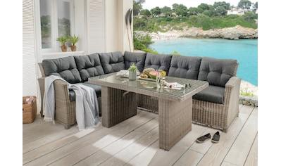 DESTINY Loungeset »RIVIERA«, 15 - tlg., Ecklounge, Tisch 80x145 cm, Polyrattan kaufen