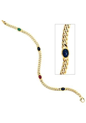 JOBO Goldarmband, 585 Gold massiv mit Rubin Safir Smaragd 19 cm kaufen