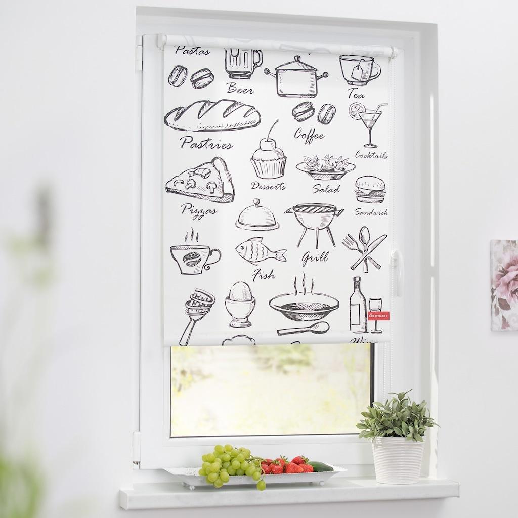 LICHTBLICK ORIGINAL Seitenzugrollo »Klemmfix Motiv Menü«, Lichtschutz, ohne Bohren, freihängend, bedruckt