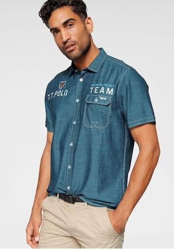 TOM TAILOR Polo Team Kurzarmhemd, mit Stickerei/ Print und Badge auf der Brust kaufen