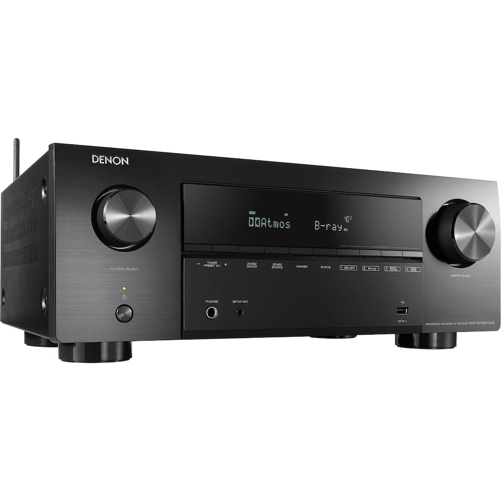 Denon AV-Receiver »AVRX2700DAB - 7-Kanal«, 7, (LAN (Ethernet)-WLAN-Bluetooth FM-Tuner-USB-Mediaplayer-Video Upscaling-Sprachsteuerung-DAB+), Multiroom fähig, unterstützt bevorzugten Sprachassistenten