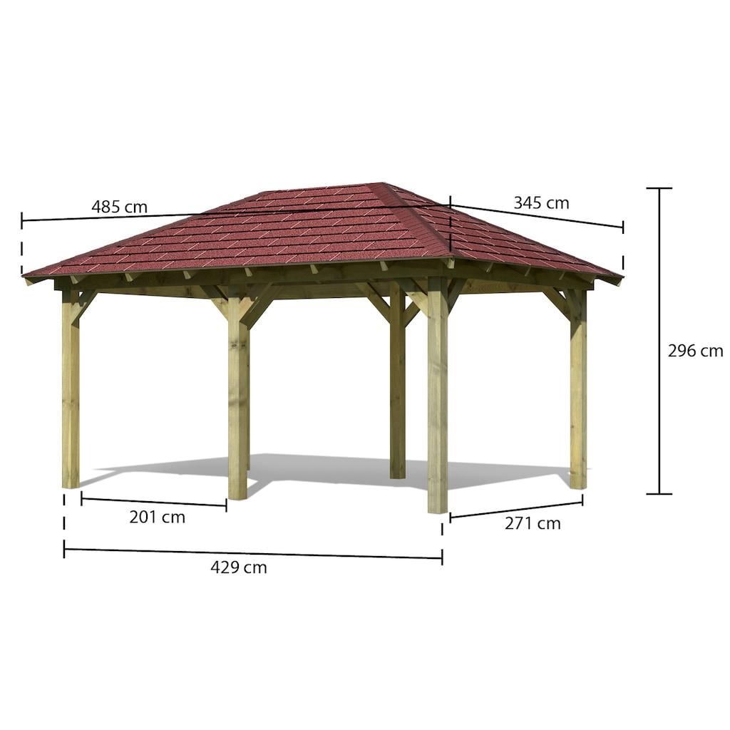Karibu Holzpavillon »Mailand 1«, (Set), BxT: 345x485 cm, inkl. Dachschindeln und Pfostenanker
