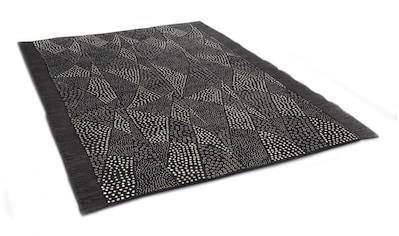 DIE HAUSKUNST Teppich »Chiya Tiama 3«, rechteckig, 4 mm Höhe, Flachgewebe, handgewebt, mit Fransen, Wohnzimmer kaufen