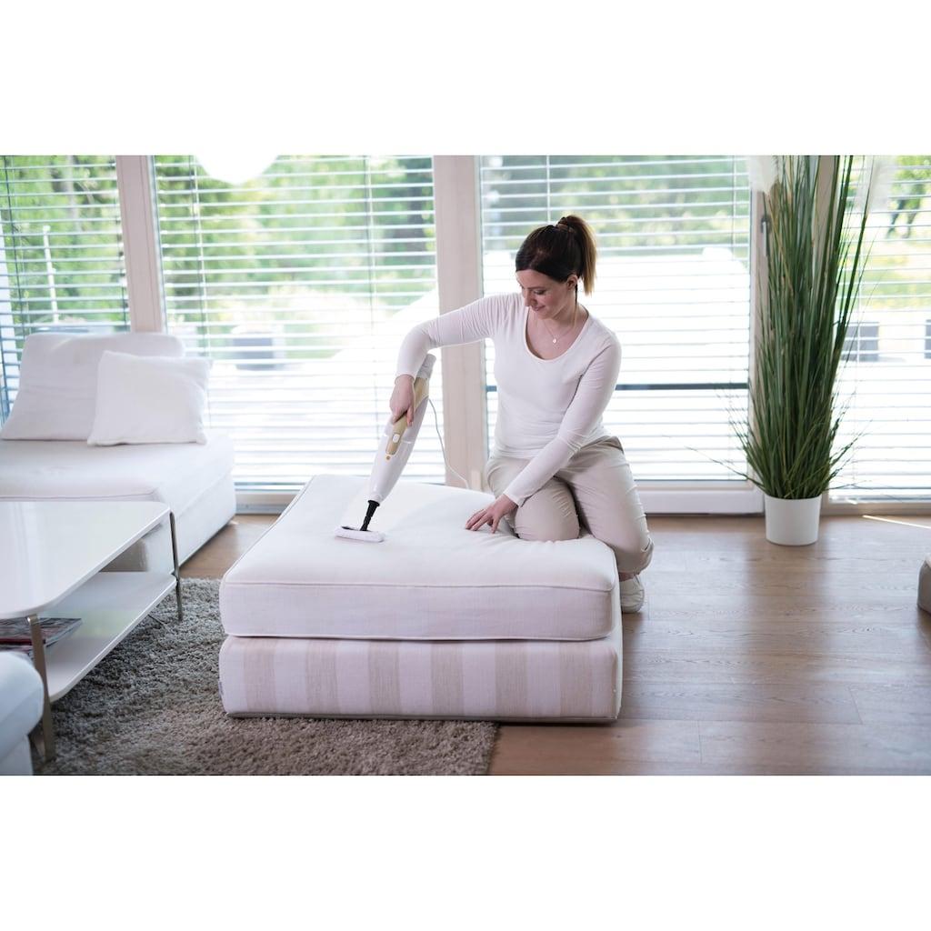 MediaShop Dampfreiniger »Livington Prime Steam Mop«, Sekundenschnell zum Handdampfgerät, Fensterreiniger oder Teppichreiniger umfunktionierbar